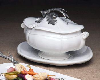 Pewter antler serving bowl by Vagabond House