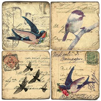 Vintage Birds Italian Marble Coasters and Giftware