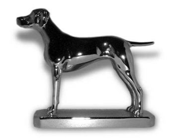 Vizsla  Hood Ornament or Car Mascot by Louis Lejeune comes in chrome, bronze, enamel or gold plated