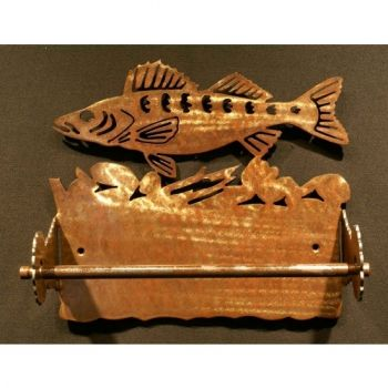 Walleye Rustic Metal Paper Towel Holder by Steel Appeal