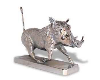 Warthog Hood Ornament or Car Mascot by Louis Lejeune comes in chrome, bronze, enamel or gold plated