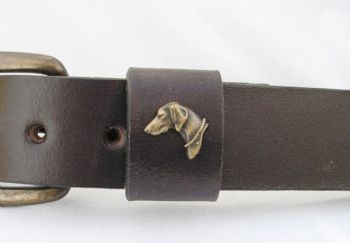 "Weimaraner Head Belt by Royden leather Belts - 1 1/2"" wide"