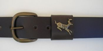 Whitetail Jumping Deer by Royden leather Belts