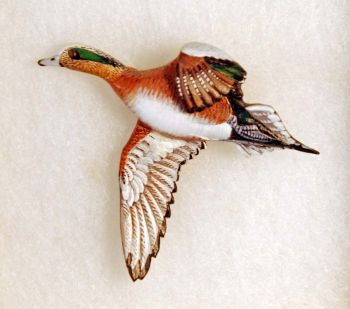 Widgeon Hand-Carved Wood Pin by Dick Cook