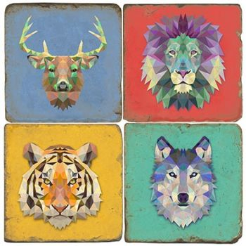 Wildlife set of 4 wine coasters by Studio Vertu