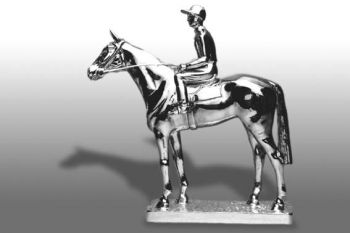 Windsor, Large Standing Thoroughbred with Jockey Hood Ornament or Car Mascot by Louis Lejeune comes in chrome, bronze, enamel or gold plated
