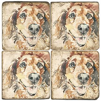 Winston the Dog Italian Marble Coasters and Accessories
