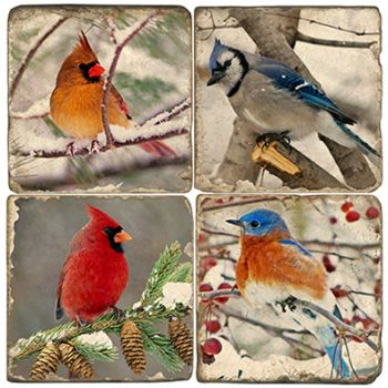 Winter Birds Italian Marble Coasters and Giftware