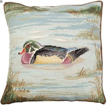 Wood Duck on Pond Pillow by Michaelian Home 18 x 18