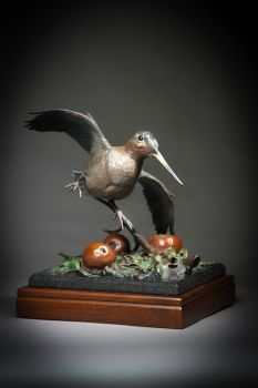 Wild Apple Woodcock is a bronze sculpture of a Woodcock among apples by Ronnie Wells