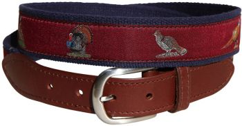 Woodland Birds Burgundy Leather Tab Belt