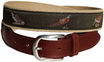 Woodland Birds Green Leather Tab Belt by Belted Cow