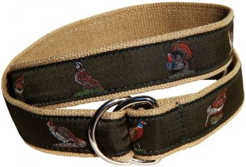Woodland Birds Green D Ring Belt by Belted Cow