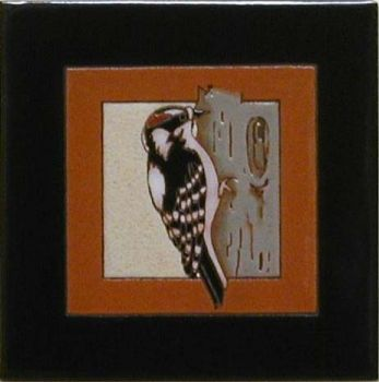 Woodpecker 6 x 6 ceramic tile by Maanum Custom Tiles