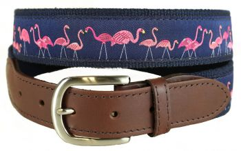 Yard Flamingos Leather Tab Belt by Belted Cow