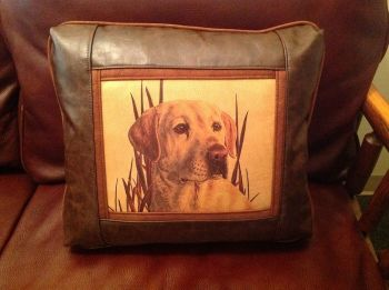Yellow Lab Leather Pillow