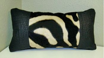 Zebra and Cape Buffalo Hide rectangular Pillow from African Game Industries