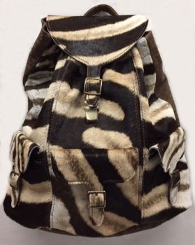Zebra and Cape Buffalo Hide Backpack - Front 2