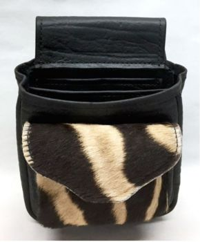 Zebra Hide Deluxe Shotgun Shell Pouch - Black - Front View