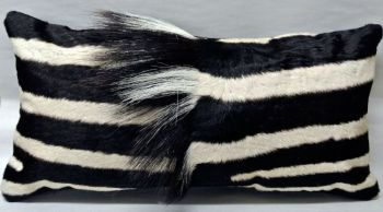 Zebra Hide Rectangular Pillow with Vertical Mane
