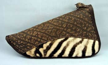"Zebra and Cape Buffalo hide brown 12"" handgun case"