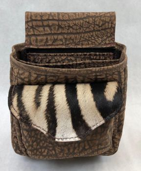 Zebra and Cape Buffalo deluxe brown shotgun shell pouch