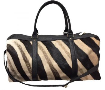 Zebra and Cape Buffalo Hide Duffel Bag - black - front