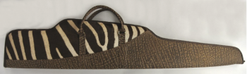 Zebra and Cape Buffalo Hide Rifle Case - Brown - Contoured Design