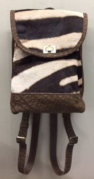 Zebra & Cape Buffalo Hide Mini Backpack - Front