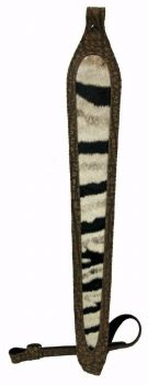 Zebra Hide and Cape Buffalo Hide Rifle Sling- Brown