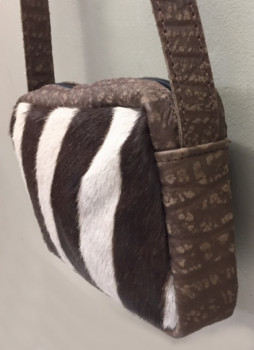 Zebra & Cape Buffalo Hide Crossbody Purse - Brown
