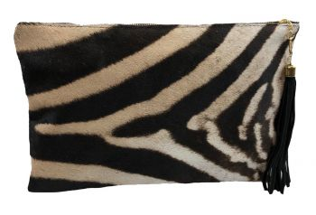 Zebra & Leather Folio Clutch Purse
