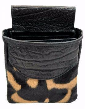 Zebra & Cape Buffalo Hide Shotgun Shell Pouch Midi Style - Black or Brown