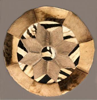 "Burchell Zebra, Hartebeest and Gemsbok Antelope Circular Rug - 30"" Diameter"