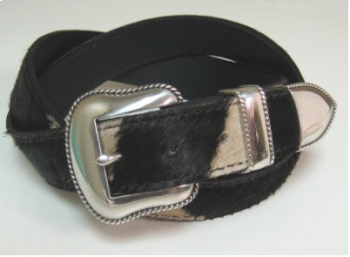 Zebra Hide Belt with 3-Part Buckle