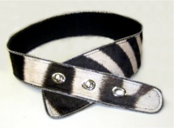 Zebra Hide Ladies Tape Belt