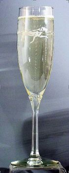 Waterdog Champagne Flutes etched glass by Zeppa Studios